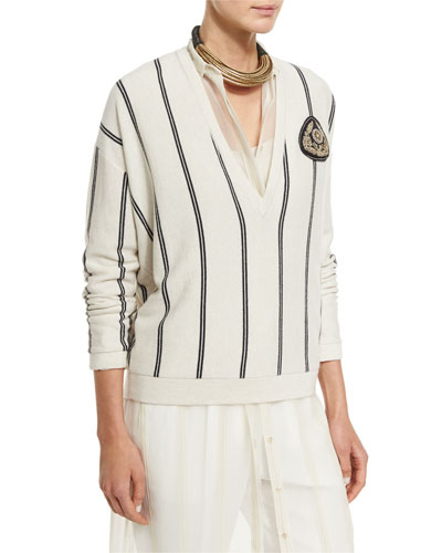 Striped Cashmere V-Neck Cardigan, Multi