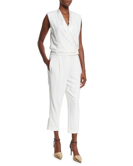 Brunello Cucinelli Shawl-Collar Sleeveless Crepe Jumpsuit, White