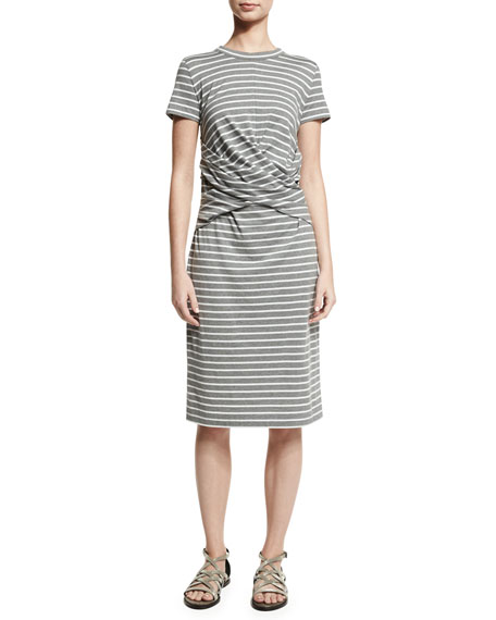 Short-Sleeve Striped Crossover-Waist Dress