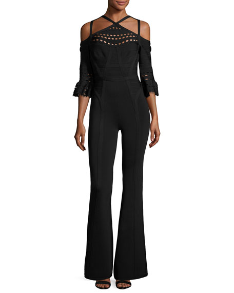 Herve Leger Cold-Shoulder Bandage Knit Jumpsuit, Black
