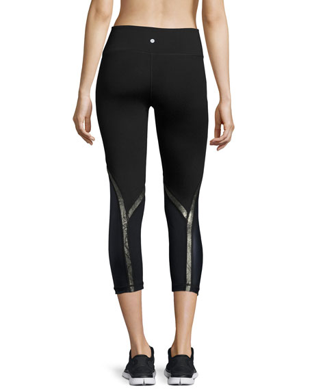 Chance Coated-Panel Capri Performance Leggings, Navy