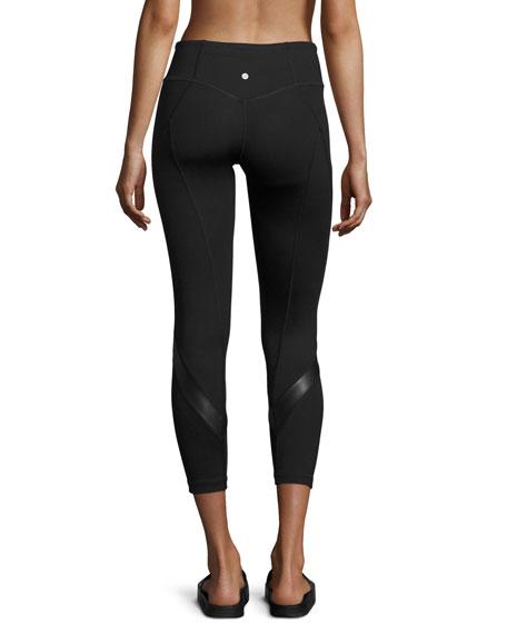 Shine Vee Paneled Capri Leggings, Black