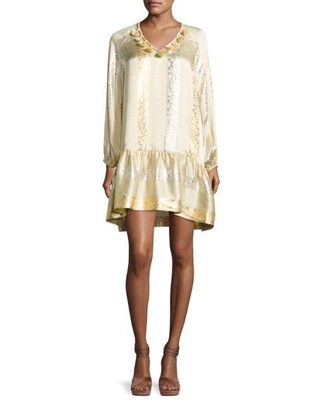 Roe Metallic Jacquard Shift Dress, Gold/Silver