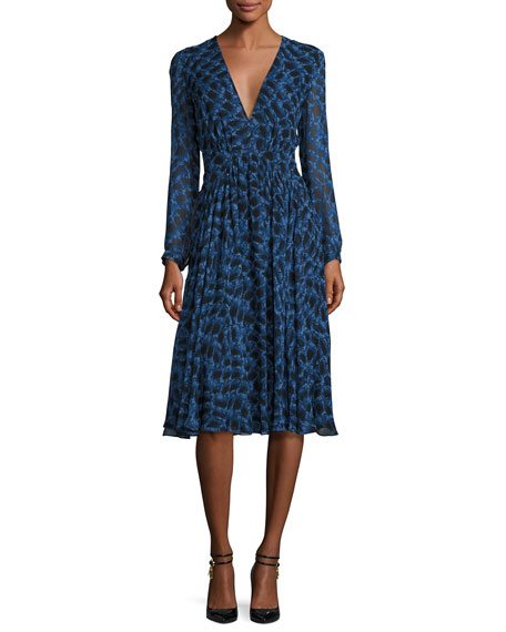 Derek Lam Long-Sleeve Python-Print Silk Dress, Blue Allium