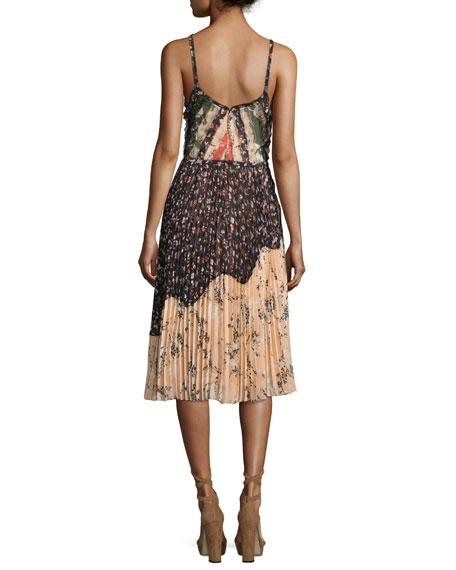 Pleated Patchwork-Chiffon Dress, Multi