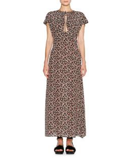 Short-Sleeve Aster-Print Maxi Dress, Black Pattern