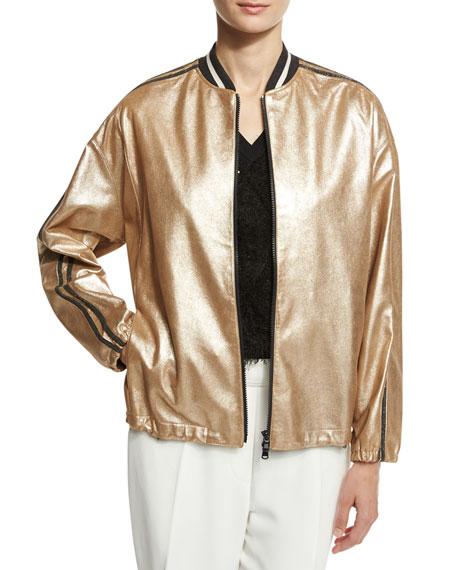 925672f7d Metallic Leather Bomber Jacket Gold