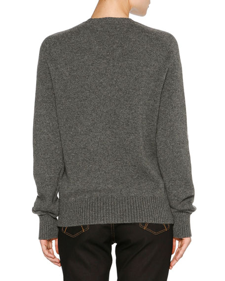 Striped Cashmere Sweater, Gray