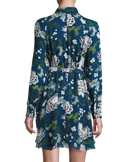 Paisley-Pattern Silk Shirtdress, Blue