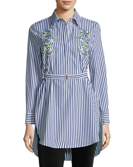 Adam Lippes Floral-Embroidered Tunic Blouse w/Belt, Multi