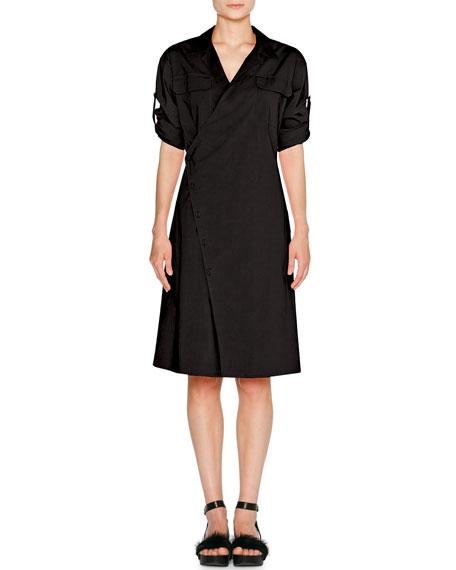 Sporty Poplin Wrap Dress, Black