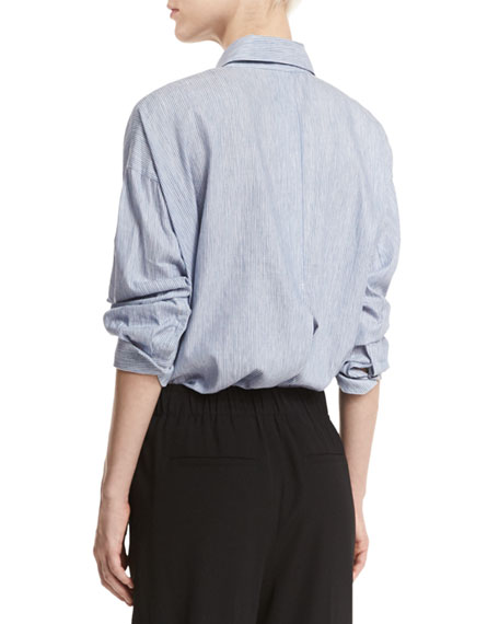 3a8bb8623ed48 Vince Striped Cropped Oxford Shirt