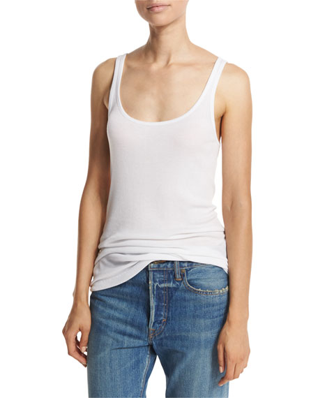 378df56cb5623 Vince Ribbed Scoop-Neck Tank Top