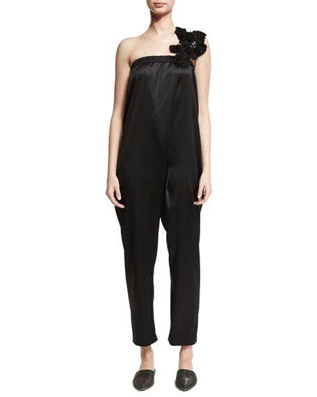 Stretch-Silk Jumpsuit w/Embellished Strap, Black