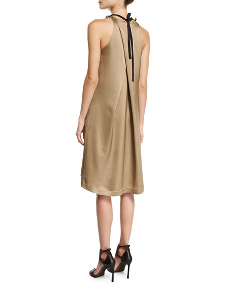 Sleeveless Cady Dress w/Monili Leather Collar, Yellow