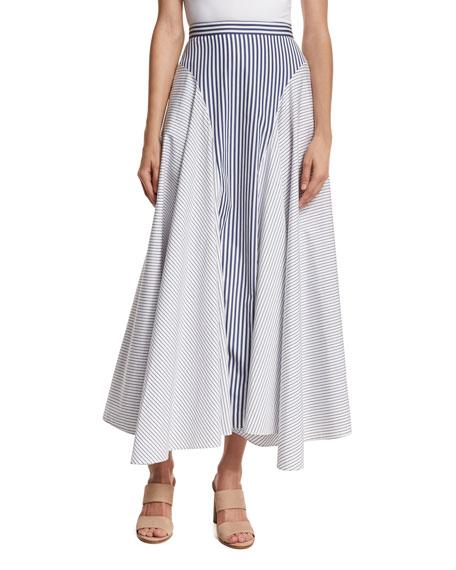 Adam Lippes Mixed-Stripe Poplin Midi Skirt, Multi