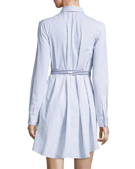 Pinstriped Poplin Trapeze Shirtdress, Multi