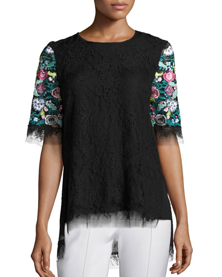 Adam Lippes Floral Embroidered Lace T-Shirt, Black/Multicolor