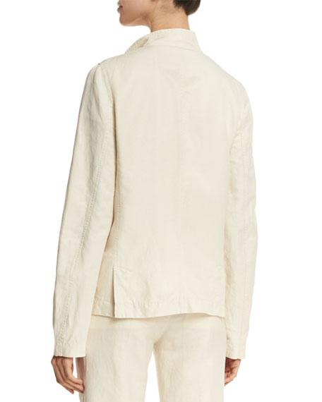 Shrunken Linen-Blend Blazer, Tan