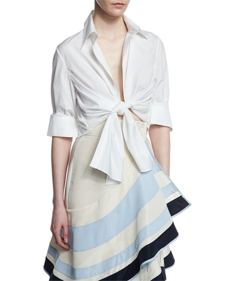 Victory Tie-Front Blouse & Bodysuit, White