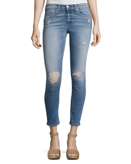Gunner Distressed Capri Jeans, Light Blue