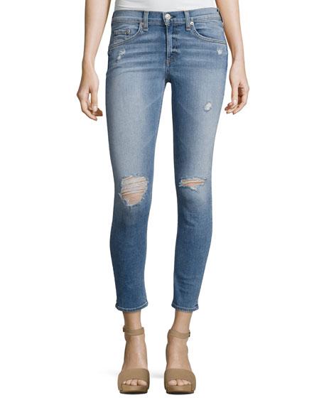 Gunner Distressed Capri Jeans, Light Blue