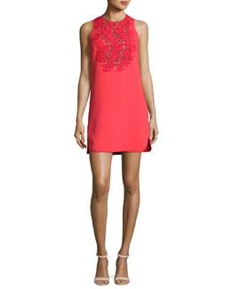 Macrame-Trim Cocktail Dress, Red