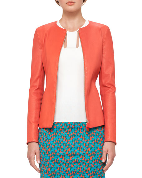 Leather Zip-Front Jacket, Rojo