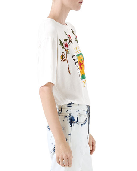 GG-Print T-Shirt with Floral Patches, White