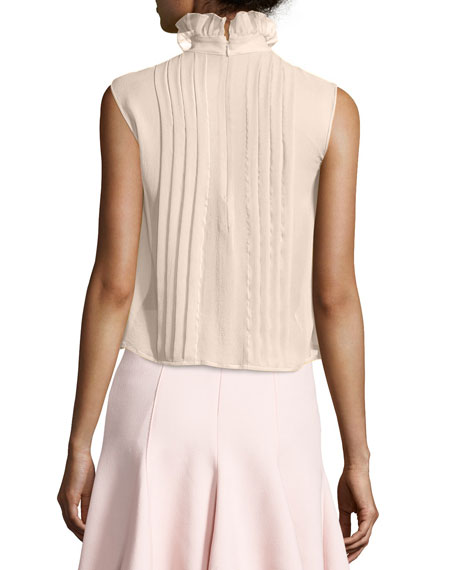 Ruffled Mock-Neck Silk Blouse, Pink