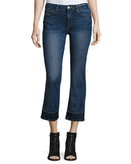 Le Crop Mini Boot-Cut Jeans w/Wide Released Hem, Atlas