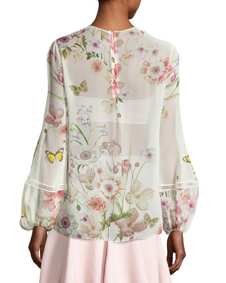Butterfly-Print Silk Blouse, White