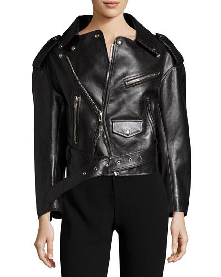 Balenciaga Leather Moto Jacket, Black
