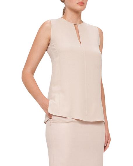 Silk Georgette Keyhole Blouse, Neutral