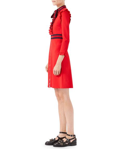 Long-Sleeve Jersey Dress w/Web Trim, Red