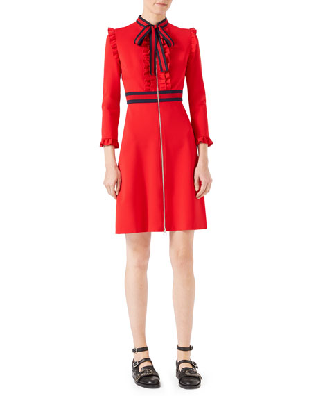 Long-Sleeve Jersey Dress w/Web Trim, Red