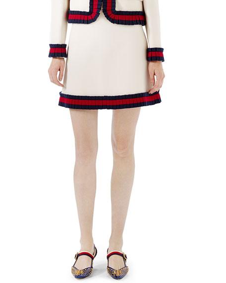 Cady Crepe A-Line Mini Skirt, Multi
