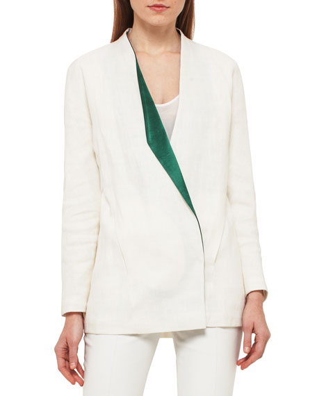 Linen Jacket w/Satin Lapel, White/Green