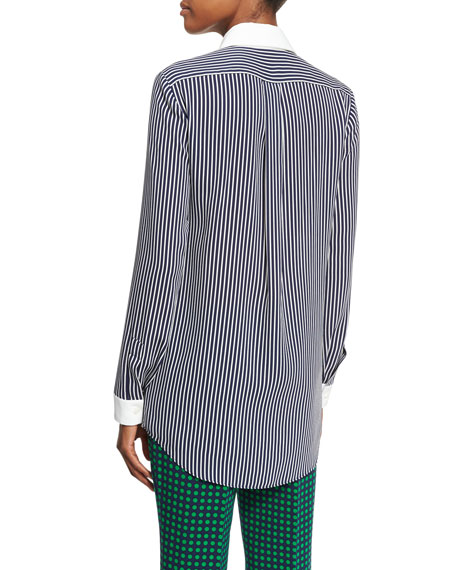 Striped Silk Georgette Blouse, Navy