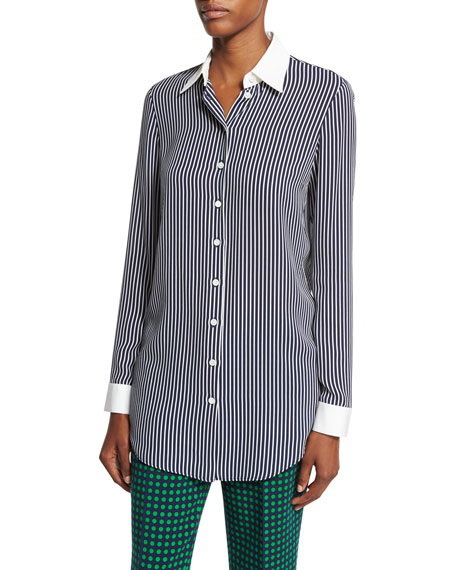 Striped Silk Georgette Blouse, Navy