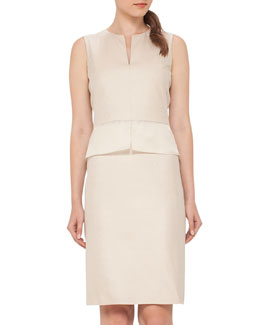 Sleeveless Split-Neck Sheath Dress