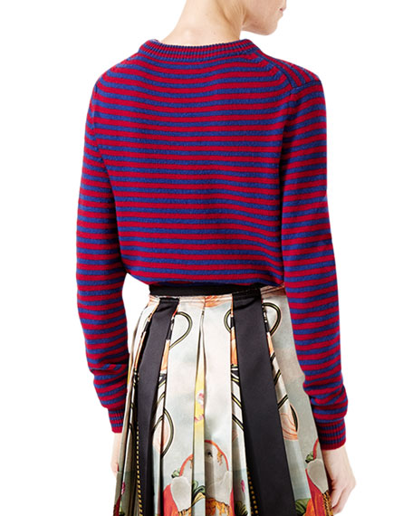Striped Wool Sweater with King Spaniel Intarsia, Blue