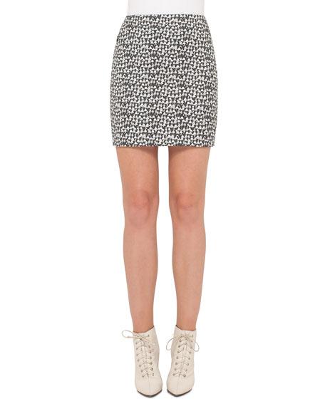 Ai Handbag-Print Skirt, Black/White