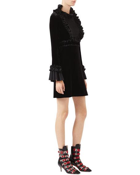 Velvet Long-Sleeve Dress, Black