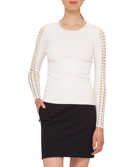 Dot-Cutout Knit Pullover, Cream