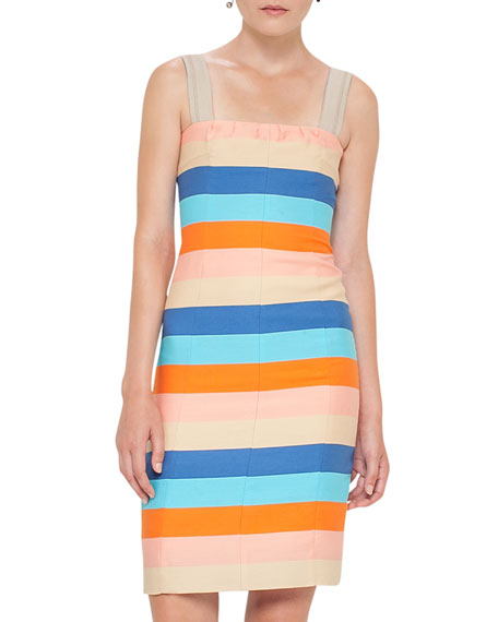 Striped Cotton-Silk Sleeveless Dress, Multicolor