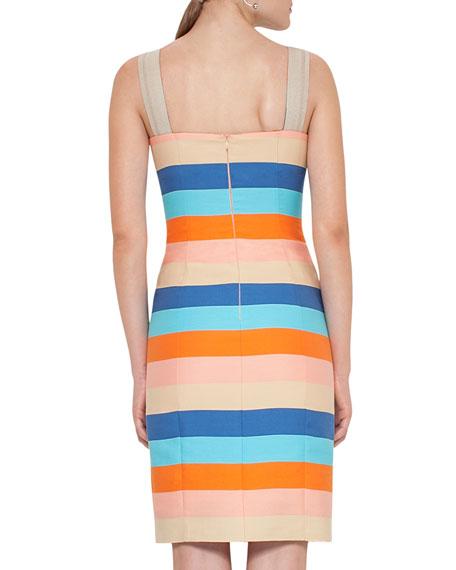 Striped Cotton-Silk Sleeveless Dress, Multicolor