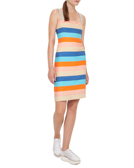 Akris punto Striped Cotton-Silk Sleeveless Dress, Multicolor