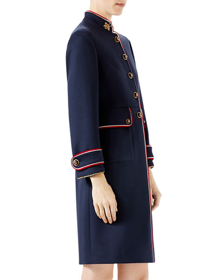Wool Coat with Bee Patches, Navy