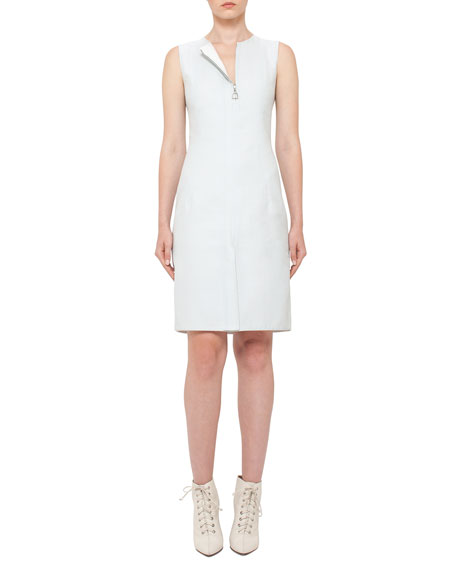 Sleeveless Zip-Front Sheath Dress, Ice